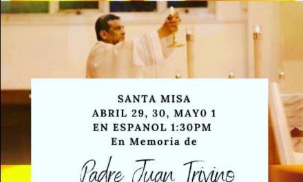 Misa virtual en memoria del Padre Juan Triviño este viernes 1º de mayo en la parroquia Santiago Apóstol
